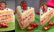 آموزش تصویری طرز تهیه کیک توت فرنگی